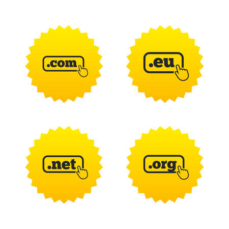 dns: Top-level internet domain icons. Com, Eu, Net and Org symbols with hand pointer. Unique DNS names. Yellow stars labels with flat icons. Vector