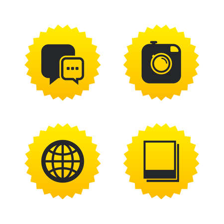 yellow photo: Social media icons. Chat speech bubble and world globe symbols. Hipster photo camera sign. Polaroid photo frames. Yellow stars labels with flat icons. Vector Illustration