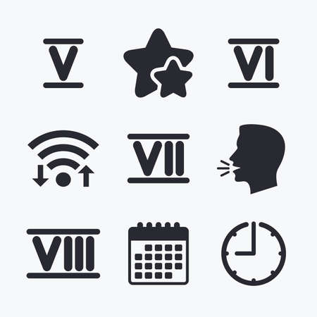 ancient rome: Roman numeral icons. 5, 6, 7 and 8 digit characters. Ancient Rome numeric system. Wifi internet, favorite stars, calendar and clock. Talking head. Vector