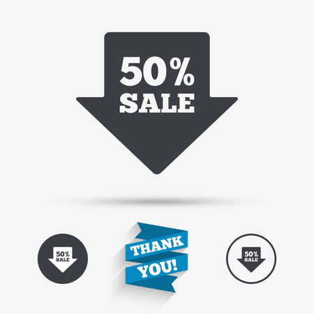 you are special: 50% sale arrow tag sign icon. Discount symbol. Special offer label. Flat icons. Buttons with icons. Thank you ribbon. Vector