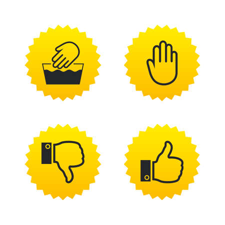 washable: Hand icons. Like and dislike thumb up symbols. Not machine washable sign. Stop no entry. Yellow stars labels with flat icons. Vector Illustration