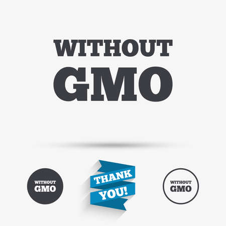 gmo: No GMO sign icon. Without Genetically modified food. Stop GMO. Flat icons. Buttons with icons. Thank you ribbon. Vector Illustration