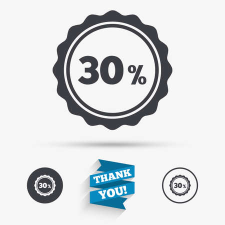 you are special: 30 percent discount sign icon. Sale symbol. Special offer label. Flat icons. Buttons with icons. Thank you ribbon. Vector
