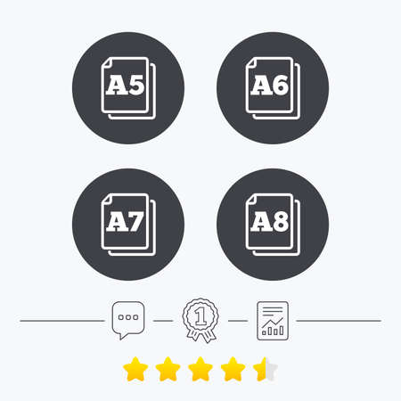 a7: Paper size standard icons. Document symbols. A5, A6, A7 and A8 page signs. Chat, award medal and report linear icons. Star vote ranking. Vector Illustration