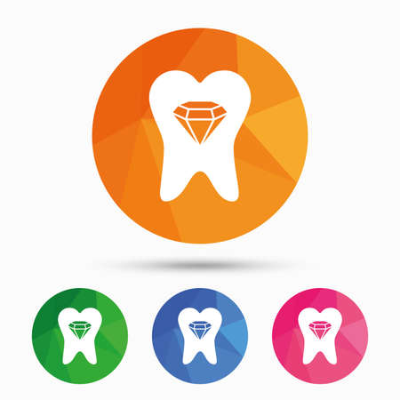 prestige: Tooth crystal icon. Tooth jewellery sign. Dental prestige symbol. Triangular low poly button with flat icon. Vector