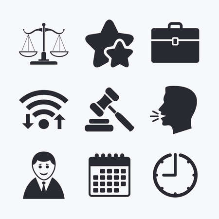 hammer head: Scales of Justice icon. Client or Lawyer symbol. Auction hammer sign. Law judge gavel. Court of law. Wifi internet, favorite stars, calendar and clock. Talking head. Vector Illustration