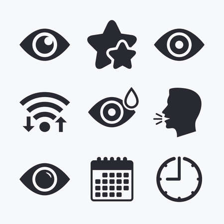red eye: Eye icons. Water drops in the eye symbols. Red eye effect signs. Wifi internet, favorite stars, calendar and clock. Talking head. Vector Illustration