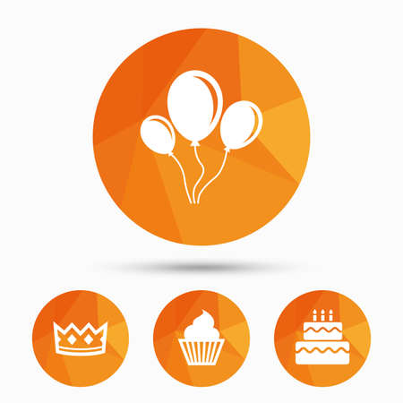 Birthday crown party icons. Cake and cupcake signs. Air balloons with rope symbol. Triangular low poly buttons with shadow. Vector Illustration