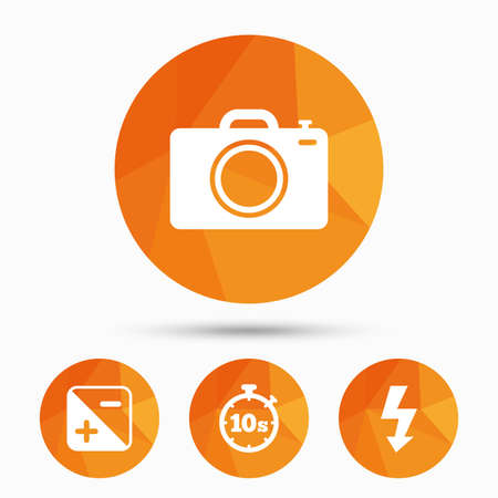 luminance: Photo camera icon. Flash light and exposure symbols. Stopwatch timer 10 seconds sign. Triangular low poly buttons with shadow. Vector