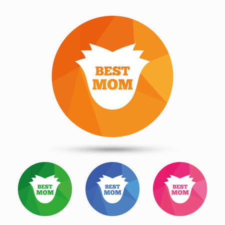 low prizes: Best mom sign icon. Flower symbol. Triangular low poly button with flat icon. Vector Illustration
