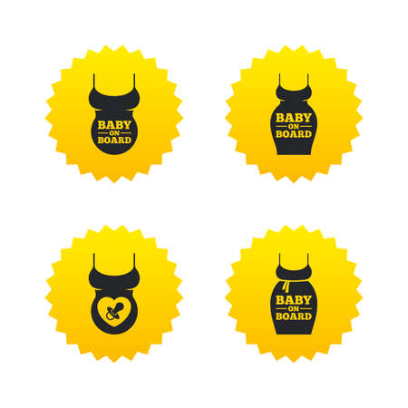 yellow dress: Baby on board icons. Infant caution signs. Child pacifier nipple. Pregnant woman dress with big belly. Yellow stars labels with flat icons. Vector Illustration