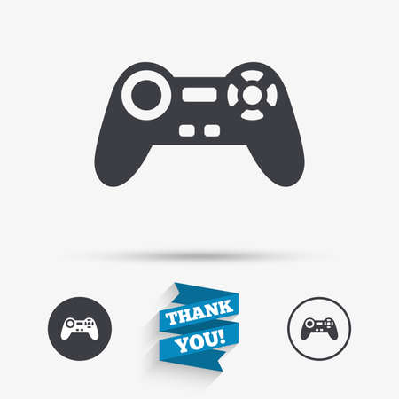 quality controller: Joystick sign icon. Video game symbol. Flat icons. Buttons with icons. Thank you ribbon. Vector Illustration
