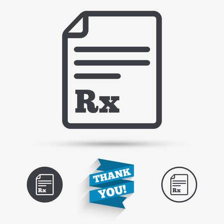 rx: Medical prescription Rx sign icon. Pharmacy or medicine symbol. Flat icons. Buttons with icons. Thank you ribbon. Vector