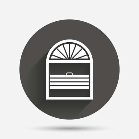 jalousie: Louvers plisse sign icon. Window blinds or jalousie symbol. Circle flat button with shadow. Vector Illustration