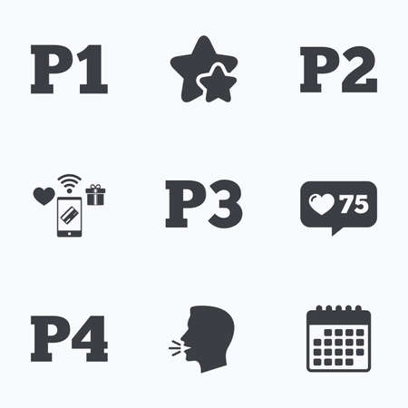 second floor: Car parking icons. First, second, third and four floor signs. P1, P2, P3 and P4 symbols. Flat talking head, calendar icons. Stars, like counter icons. Vector