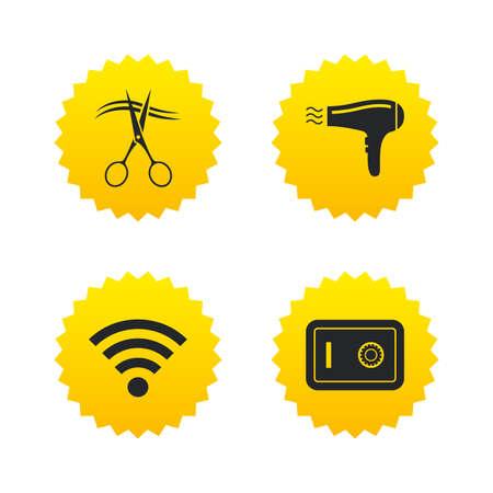 Hotel Dienstleistungen Symbole. Wi-Fi, Fön Und Pfandschloss Im ...