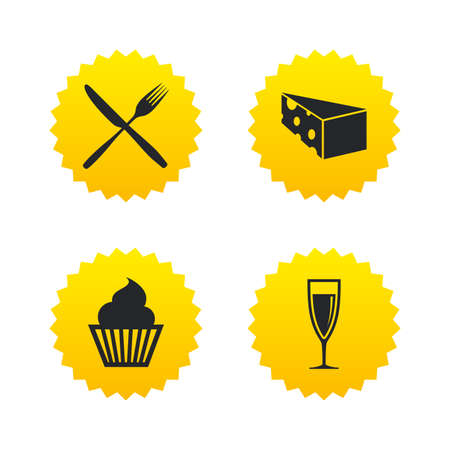 champagne orange: Food icons. Muffin cupcake symbol. Fork and knife sign. Glass of champagne or wine. Slice of cheese. Yellow stars labels with flat icons. Vector Illustration