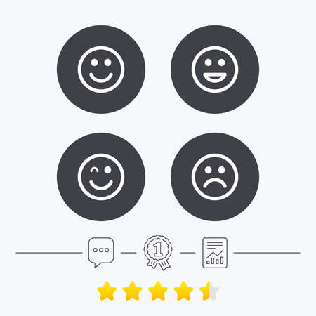 sorrowful: Smile icons. Happy, sad and wink faces symbol. Laughing lol smiley signs. Chat, award medal and report linear icons. Star vote ranking. Vector