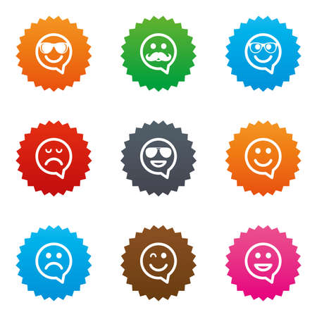 Smile speech bubbles icons. Happy, sad and wink faces signs. Sunglasses, mustache and laughing lol smiley symbols. Stars label button with flat icons. Vector