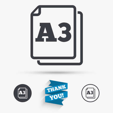 a3: Paper size A3 standard icon. File document symbol. Flat icons. Buttons with icons. Thank you ribbon. Vector Illustration