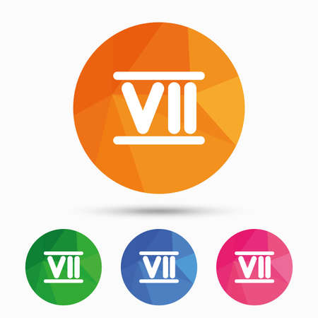 numeral: Roman numeral seven sign icon. Roman number seven symbol. Triangular low poly button with flat icon. Vector
