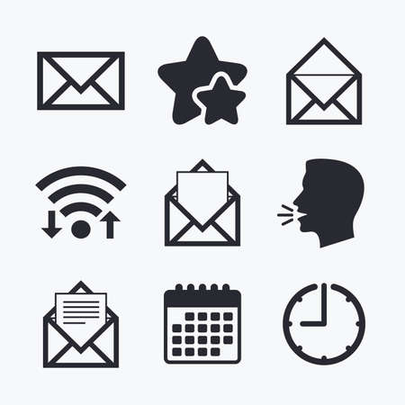 Mail envelope icons. Message document symbols. Post office letter signs. Wifi internet, favorite stars, calendar and clock. Talking head. Vector Illustration