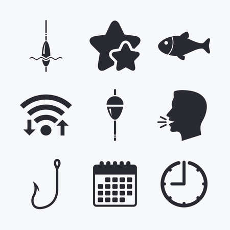 bobber: Fishing icons. Fish with fishermen hook sign. Float bobber symbol. Wifi internet, favorite stars, calendar and clock. Talking head. Vector