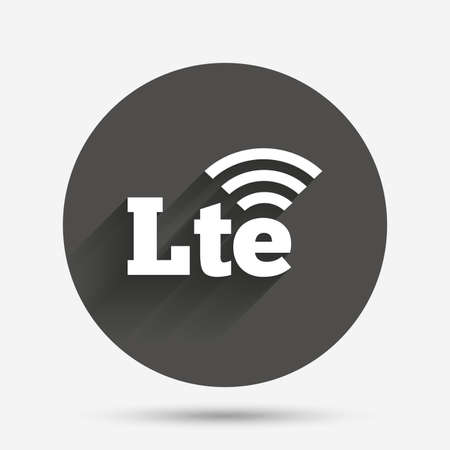 4g: 4G LTE sign icon. Long-Term evolution sign. Wireless communication technology symbol. Circle flat button with shadow. Vector