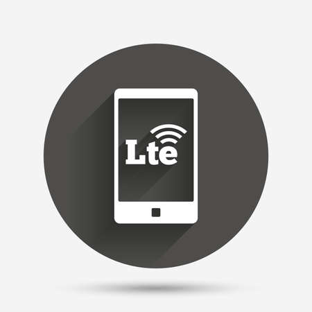lte: 4G LTE sign in smartphone icon. Long-Term evolution sign. Wireless communication technology symbol. Circle flat button with shadow. Vector