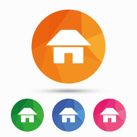 Home sign icon. Main page button. Navigation symbol. Triangular low poly button with flat icon. Vector Illustration