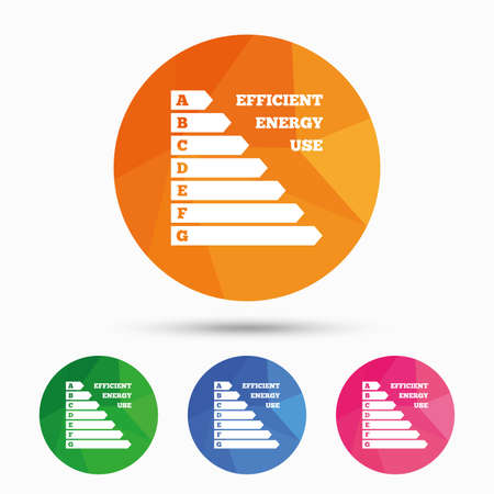 consumption: Energy efficiency sign icon. Electricity consumption symbol. Triangular low poly button with flat icon. Vector
