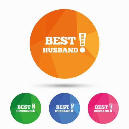ever: Best husband ever sign icon. Award symbol. Exclamation mark. Triangular low poly button with flat icon. Vector Illustration