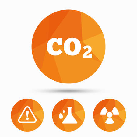 co2: Attention and radiation icons. Chemistry flask sign. CO2 carbon dioxide symbol. Triangular low poly buttons with shadow. Vector Illustration