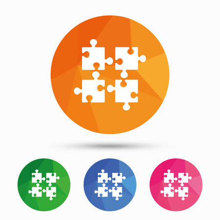 ingenuity: Puzzles pieces sign icon. Strategy symbol. Ingenuity test game. Triangular low poly button with flat icon. Vector