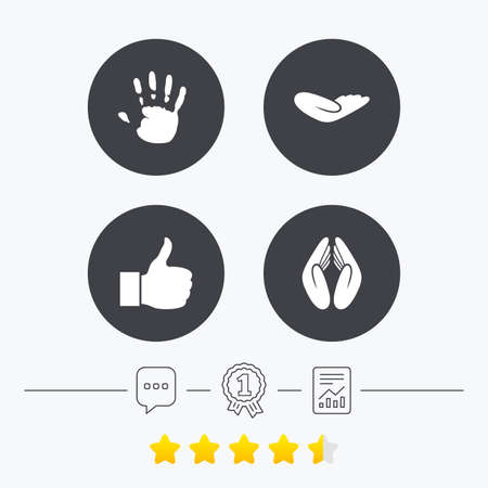 chat up: Hand icons. Like thumb up symbol. Insurance protection sign. Human helping donation hand. Prayer hands. Chat, award medal and report linear icons. Star vote ranking. Vector