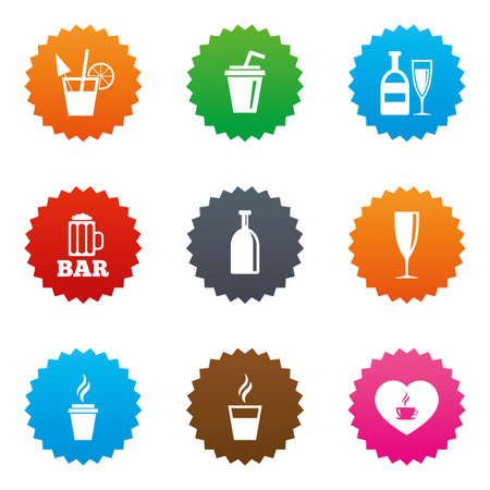 Beer, coffee and tea icons. Beer, wine and cocktail signs. Soft and alcohol drinks symbols. Stars label button with flat icons. Vector Illustration