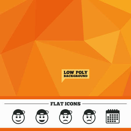 triangular eyes: Triangular low poly orange background. Rapper smile face icons. Happy, sad, cry signs. Happy smiley chat symbol. Sadness depression and crying signs. Calendar flat icon. Vector