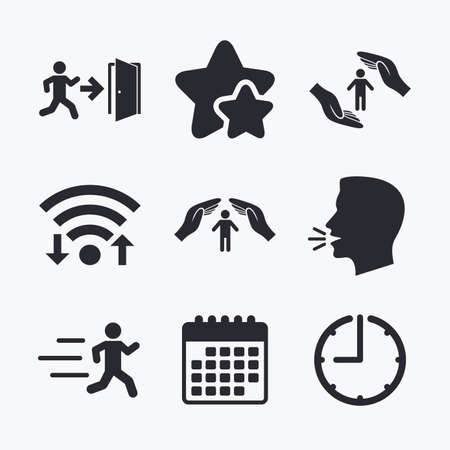 head protection: Life insurance hands protection icon. Human running symbol. Emergency exit with arrow sign. Wifi internet, favorite stars, calendar and clock. Talking head. Vector