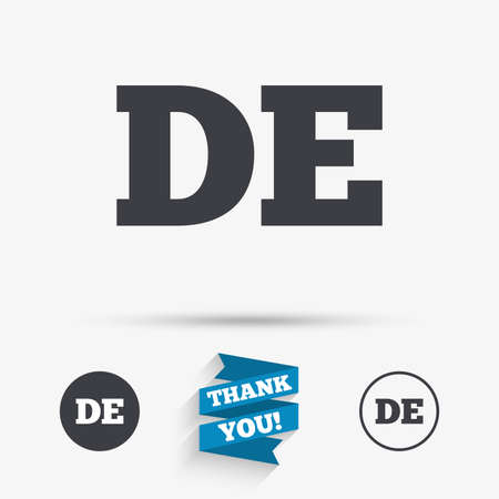 deutschland: German language sign icon. DE Deutschland translation symbol. Flat icons. Buttons with icons. Thank you ribbon. Vector Illustration