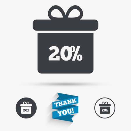 you are special: 20% sale gift box tag sign icon. Discount symbol. Special offer label. Flat icons. Buttons with icons. Thank you ribbon. Vector