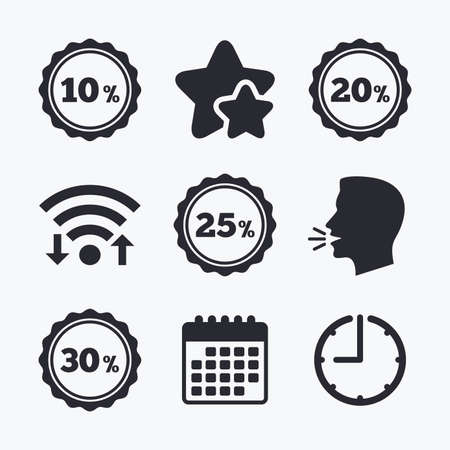 20 25: Sale discount icons. Special offer stamp price signs. 10, 20, 25 and 30 percent off reduction symbols. Wifi internet, favorite stars, calendar and clock. Talking head. Vector