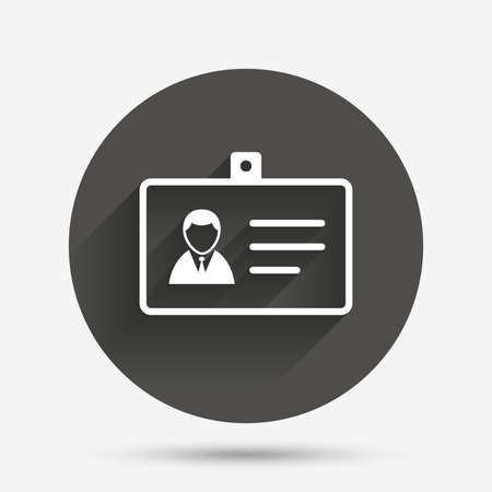 guests website: ID card sign icon. Identity card badge symbol. Circle flat button with shadow. Vector