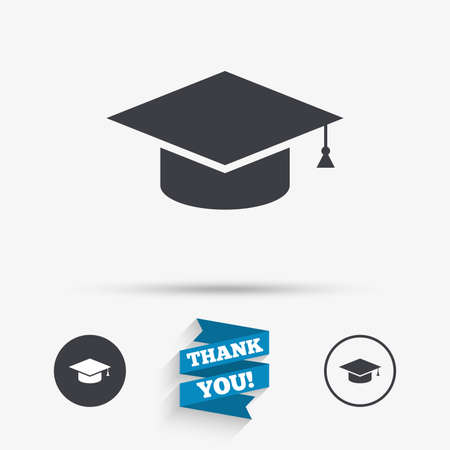 higher: Graduation cap sign icon. Higher education symbol. Flat icons. Buttons with icons. Thank you ribbon. Vector