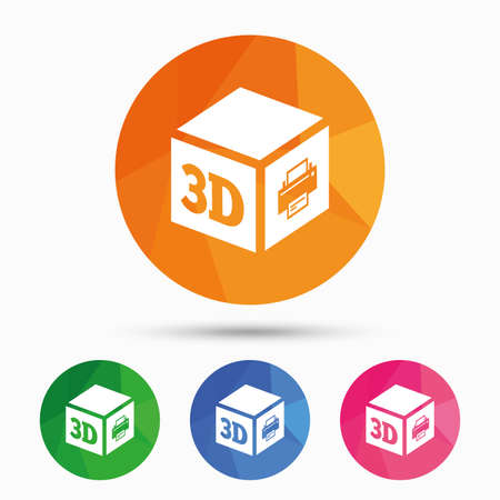 additive: 3D Print sign icon. 3d cube Printing symbol. Additive manufacturing. Triangular low poly button with flat icon. Vector