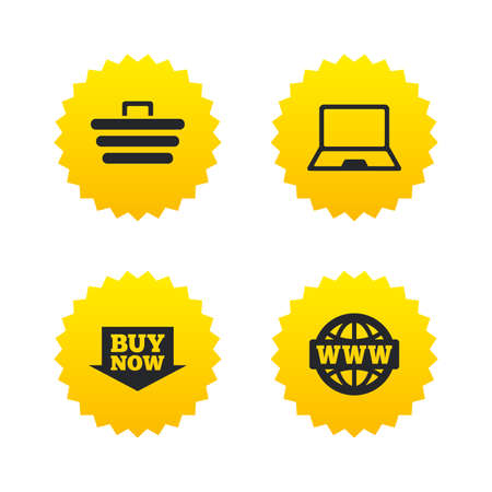 Online shopping icons. Notebook pc, shopping cart, buy now arrow and internet signs. WWW globe symbol. Yellow stars labels with flat icons. Vector Illustration