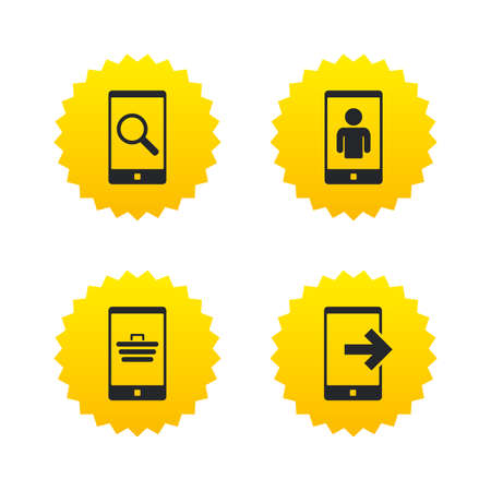 video call: Phone icons. Smartphone video call sign. Search, online shopping symbols. Outcoming call. Yellow stars labels with flat icons. Vector