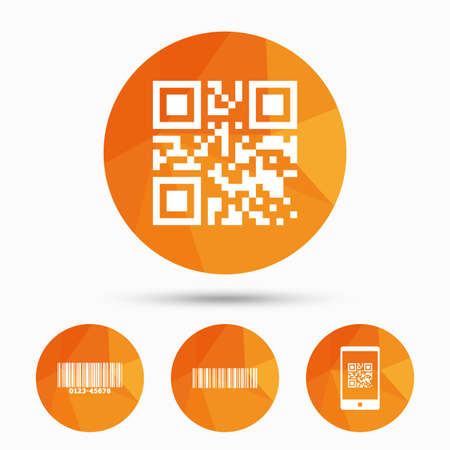 qrcode: Bar and Qr code icons. Scan barcode in smartphone symbols. Triangular low poly buttons with shadow. Vector Illustration