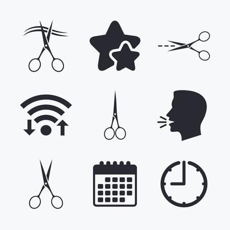 hair cut: Scissors icons. Hairdresser or barbershop symbol. Scissors cut hair. Cut dash dotted line. Tailor symbol. Wifi internet, favorite stars, calendar and clock. Talking head. Vector Illustration