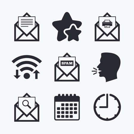 webmail: Mail envelope icons. Print message document symbol. Post office letter signs. Spam mails and search message icons. Wifi internet, favorite stars, calendar and clock. Talking head. Vector
