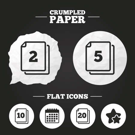quantity: Crumpled paper speech bubble. In pack sheets icons. Quantity per package symbols. 2, 5, 10 and 20 paper units in the pack signs. Paper button. Vector